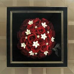 Roses in Manhttan Pewter Stripe Frame