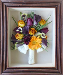 Mixed Flowers in Bamboo Frame
