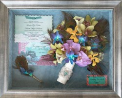 Peacock Feathers & Orchids in Silver Shadowbox
