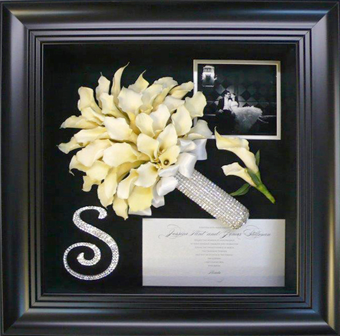 Calla Lilies in Black Frame - Forever Flowers