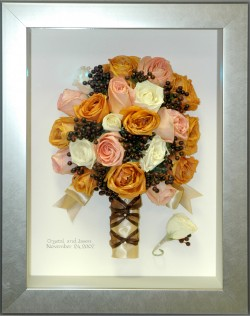 Calligraphy on Background in Brushed Silver Shadowbox