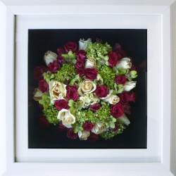 Mixed Flowers in White Frame