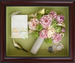 Peonies  in Rosewood Shadowbox