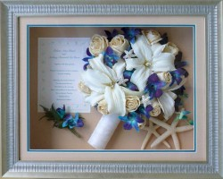 Beach theme Shadowbox in Silver Frame