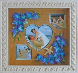 Bridal flowers arranged around heart photo