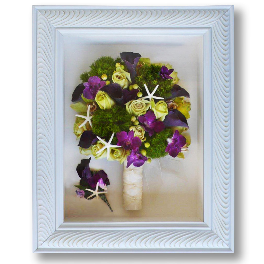 Preserved Bridal Bouquet in white shadowbox with tropical flowers