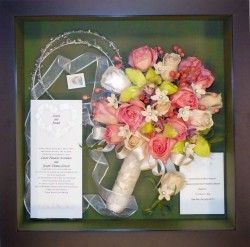 Preserved Bridal Bouquet in shadowbox with Greek Stephana Headpieces