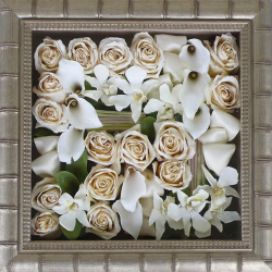 Pave shadowbox preserved bridal flowers