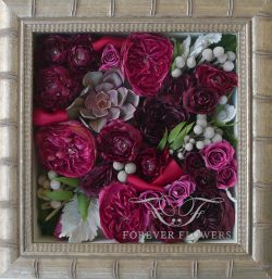Pavé design shadowbox with roses and silver brunia