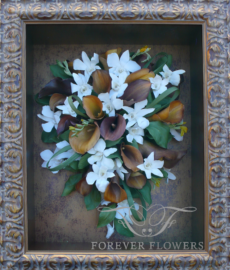 Prague frame with cascading bouquet of Mango Calla Lilies